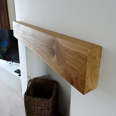 Solid Oak Beam Mantle Piece Floating Wooden Mantel Fireplace Shelf Shaped Sanded