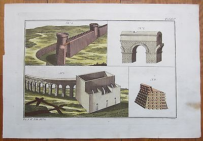 Spalart: Ancient Greece Rome Architecture Rare Large Handcolored Print - 1800