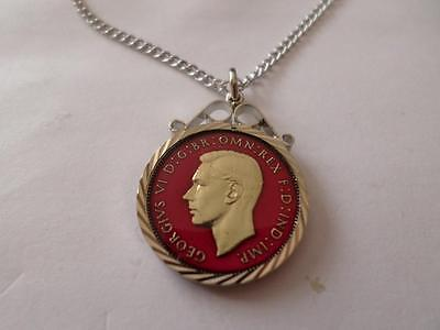 Vintage Enamelled Farthing Coin Pendant & Necklace. Christmas Birthday Present