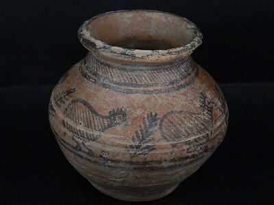 "Ancient Indus Valley Teracotta Painted Pot With Birds C.2500 Bc    """"t15400"""""