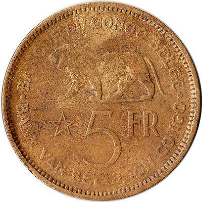 1936 Congo (Belgian) 5 Francs Large Coin Lion KM#24