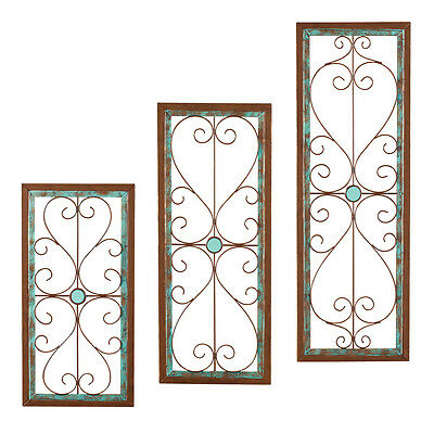 Turquoise Rustic Scroll Wall Art Set, by Collections Etc