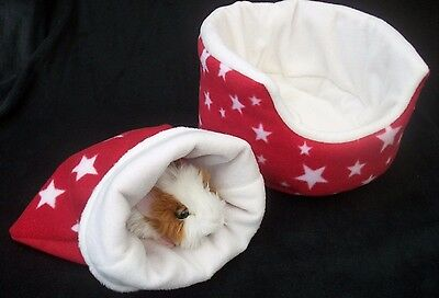"""guinea pig bed snuggle pouch  cuddle cup sack hedgehog sleeping bag 10"""" 2 piece"""