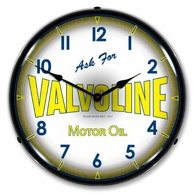 "Vintage Style "" Ask for Valvoline Motor Oil "" Lighted Backlit Advertising Clock"