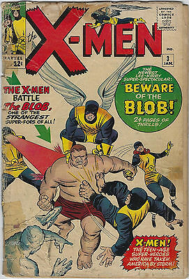 X-Men #3 (1964, Marvel) 1st App Blob, Stan Lee, Jack Kirby, Fa/Fa+