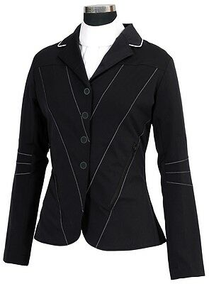 Equine Couture ITALIA Show ladies Fashion Fwd Coat Black Light weight Stretch