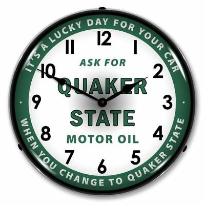 "Vintage Style ""Ask for Quaker State Motor Oil"" Lighted Backlit Advertising Clock"