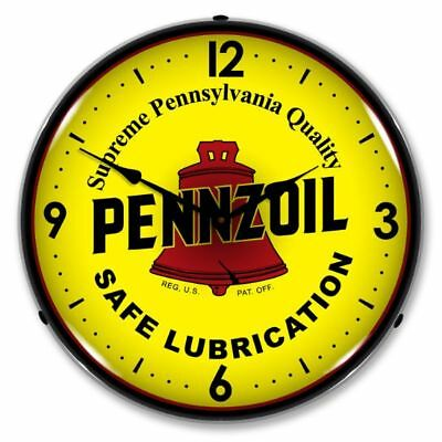 "Vintage Style "" Pennzoil - Safe Lubrication "" Lighted Backlit Advertising Clock"