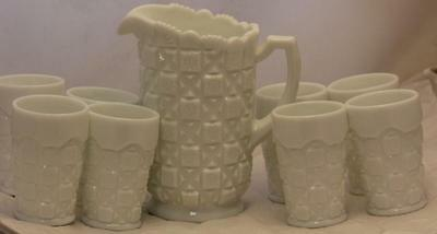 Old Quilt Westoreland Milk Glass Set Pitcher 8 Matching Water Glasses Tumblers