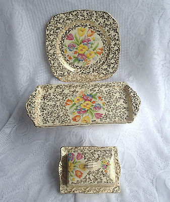 4 Piece H & K Tunstall floral/Pansy Tray, Dish and Covered Dish Gold Chintz 955