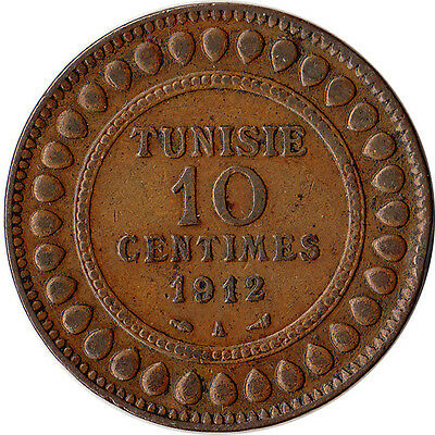 1912 Tunisia (French) 10 Centimes Large Coin KM#236 Mintage 500,000