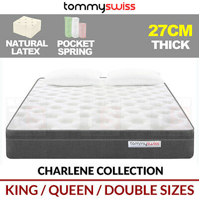TOMMY SWISS: DESIGNER MATTRESS King Queen, Double Pocket Spring w/ Natural Latex