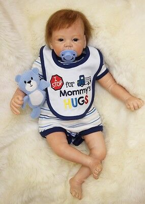 Reborn Toddler Dolls 22'' Handmade Lifelike Baby Silicone Vinyl Boy Girl Doll
