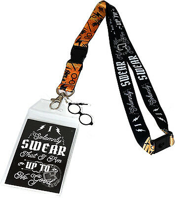 Harry Potter I Solemnly Swear Script Lanyard ID Badge Holder & Glasses Charm New
