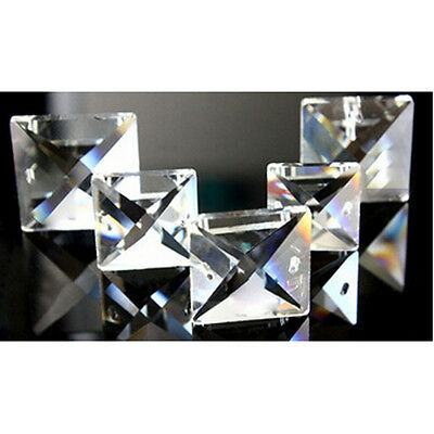 400pcs 14mm Clear Glass Square Crystal Beads Prisms Chandelier Lamp Chain Parts