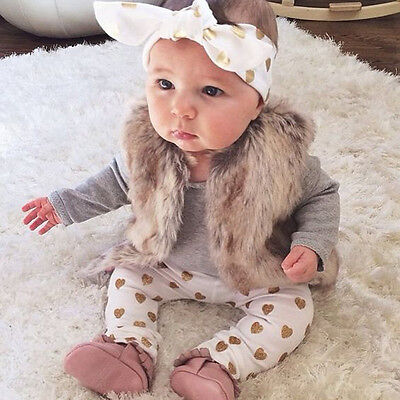Newborn Baby Girl Long Sleeve Romper Top+Pants Leggings 3Pcs Outfits Set Clothes
