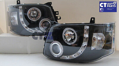 TOYOTA HIACE Black LED Angel-Eyes DRL LED Projector Head Lights Headlight 11-14