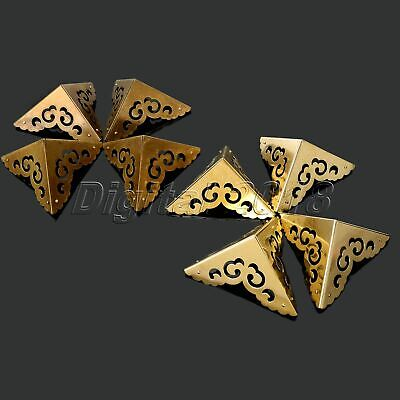 4Pcs Antique Brass Corners Protector For Furniture Jewelry Wooden Gift Box 8X8cm