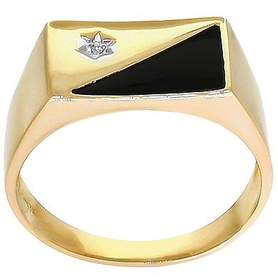 Natural Onyx & Diamond 9ct 9K Solid Gold Gents Mens Ring