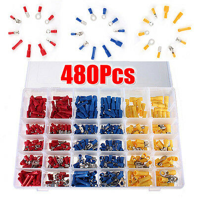 480Pcs Assorted Insulated Electrical Wire Terminal Crimp Spade Connector Box Set