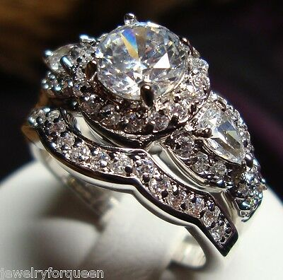 Stunning CZ Vintage Style Women Engagement Wedding Rings set Size 5 to 10