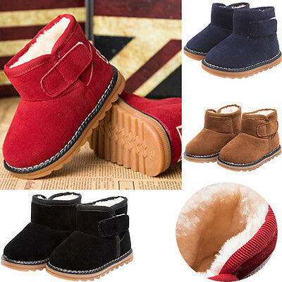 Child Toddler Baby Girls Boys Kids Winter Warm Snow Boots Fur Shoes Sneakers UK
