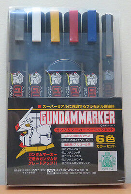 Mr Hobby #GMS-105 Gundam  Marker Pen Basic Set 6 Pcs Bandai Model