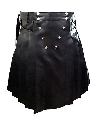 Real Mens BLACK Leather Gladiator Pleated Kilt FLAT FRONT Pocket Wrap Style -K10