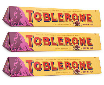 3 x Toblerone Fruit & Nut 100g