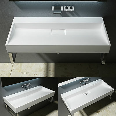 Durovin Solid Stone CounterTop Wall Hung Basin Sink Quality 1000mm No Tap Hole