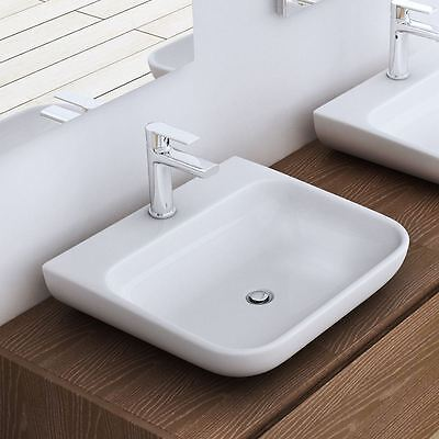 Durovin Stone Counter Wall Mounted Curved Square Bathroom Basin Sink 600mm C811