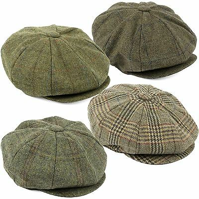100% British Wool Tweed 8-Panel Newsboy Cap Handmade in Britain