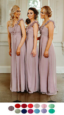 1 Shoulder Chiffon Bridesmaid Wedding Dress Prom Evening Long Short Maxi Party