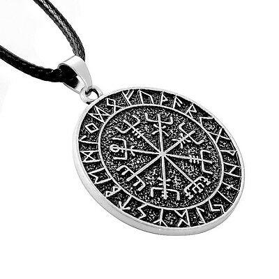 Antique Silver Viking Vegvísir Braided Cord Pendant Necklace