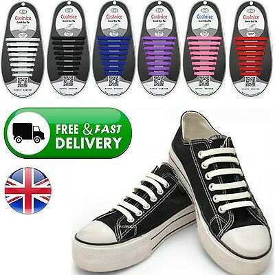 Easy No Tie Elastic Shoe Lace 100% Silicone Trainers Shoes Adult Shoelaces