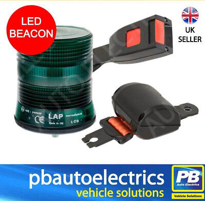 Securon Seat Belt & Green LED Single Point Beacon Warning Kit 12/24v - PBLAP101