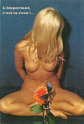 Original 1960s French Nude Pinup PC- Artistic- With Flower- Well Endowed Blond