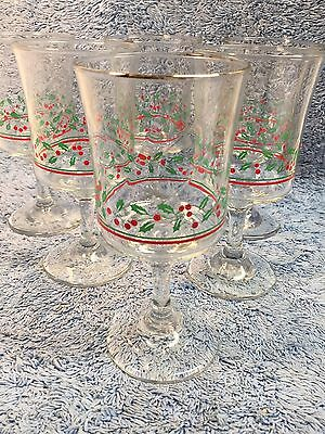 Lot of 6 Christmas Wine Glasses Arby's Stem Holly Ribbon Gold Trim Holiday 7""