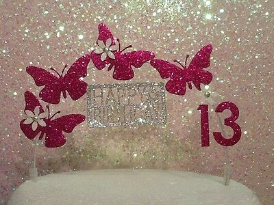 Butterfly Birthday Cake Decoration / Glitter / Fuschia/ cerise Pink/ arch topper