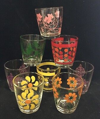Vintage Lot 8 Anchor Hocking Mixed Lot Drinking Glasses Tumblers Embossed EUC!