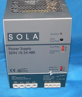 SOLA HEVI-DUTY SDN 10-24-480 POWER SUPPLY, 380/500 vac, 24 vdc