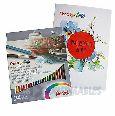 Pentel Gift Set 24 Water Colour Pencils With Watercolour Book - CB924U/PAD