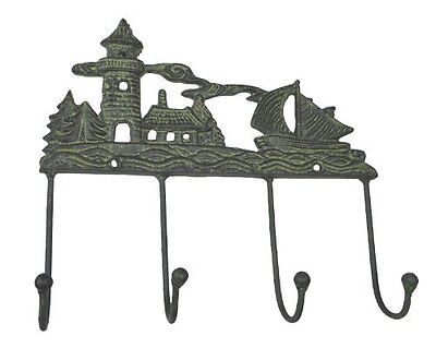 LuLu Lulu Decor, Cast Iron Sail boat & Light house Decorative 4 Wall Hooks, use