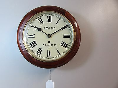 SMALL VICTORIAN 9 INCH FUSEE DIAL WALL CLOCK.  Evans 7 Davies St. W.