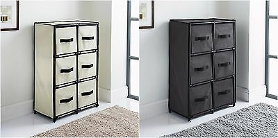 Canvas 6 Drawer Unit strong plastic frame with metal Storage Unit