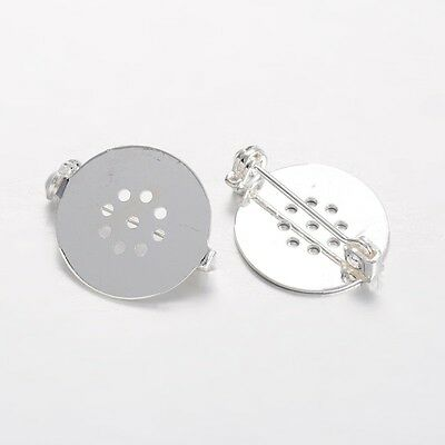 10PCS Flat Round Brooch Findings Brooch Base Blanks Trays Backs Silver 18mm