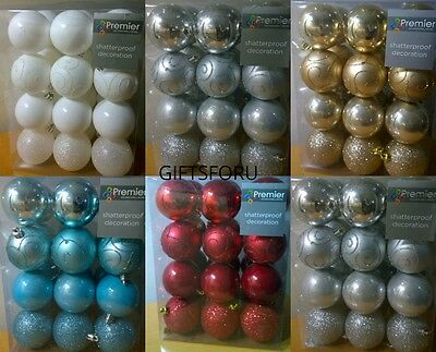 24 X Christmas Tree Baubles 60Mm  Xmas Decoration Bauble Shatterproof Glitter
