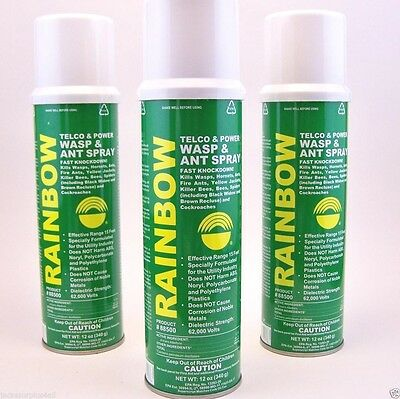 Rainbow - Telco & Power - 3 Pack - Wasp - Ants - Insect - 12 Oz. - Spray - New