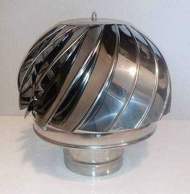 CHIMNEY SPINNER COWL Stainless Steel Wind Rotating Cap INOX to fit 5''/125mm