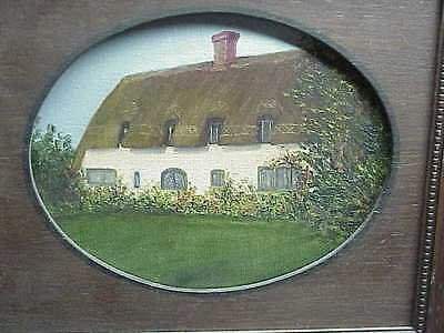 #615 Vintage Oil Painting Canvas Irish Thatched Roof Cottage Framed